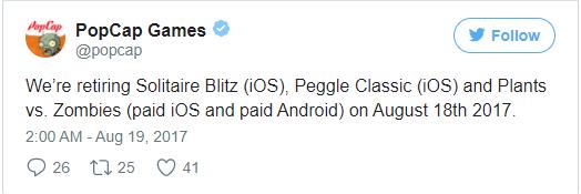 iOS11风暴前夜!32位《植物大战僵尸》等 Popcap游戏下架