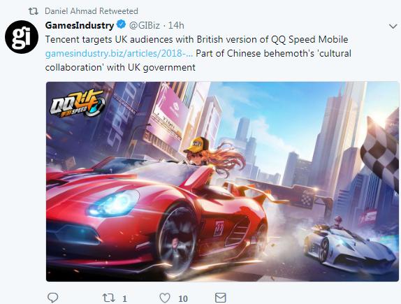 腾讯推出英国版《QQ飞车》手游 瞄准英国市场