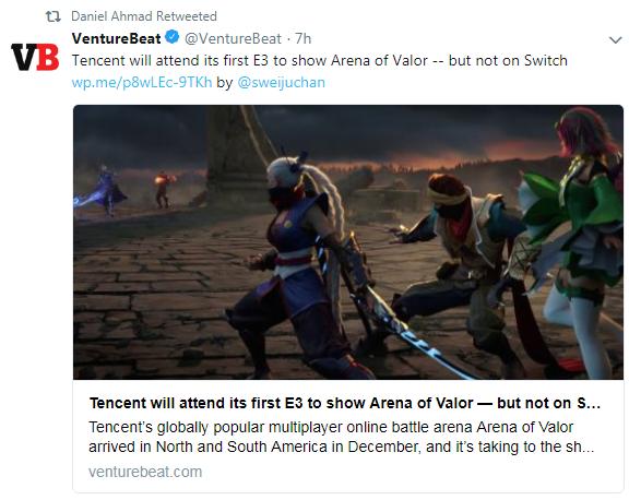腾讯将首次参展E3 展示火爆手游《王者荣耀》