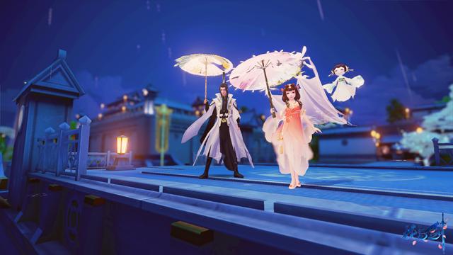 烟雨长安,情绘纸伞 《花与剑》制一伞携一人漫步街巷