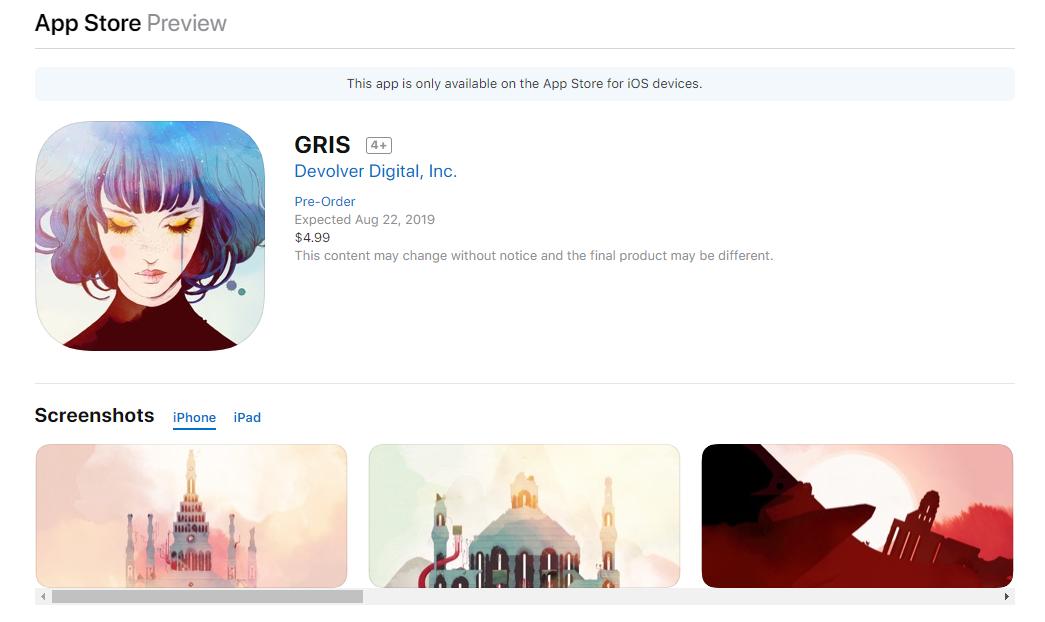 唯美风横版冒险《Gris》8月22日登陆iOS平台图片1