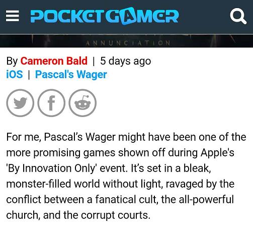 外媒:《帕斯卡契约》或成苹果发布会中最有前景的游戏