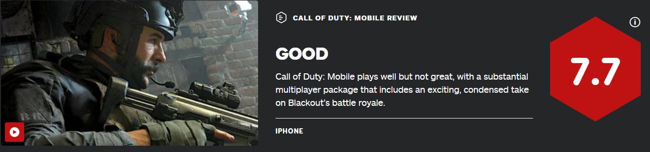 《使命召唤手游》IGN 7.7分 系列以来最棒的手游