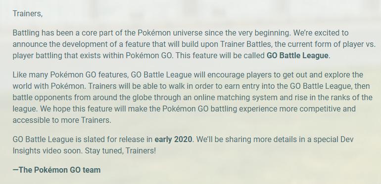 《宝可梦GO》公布全新PVP对战模式 2020年初上线