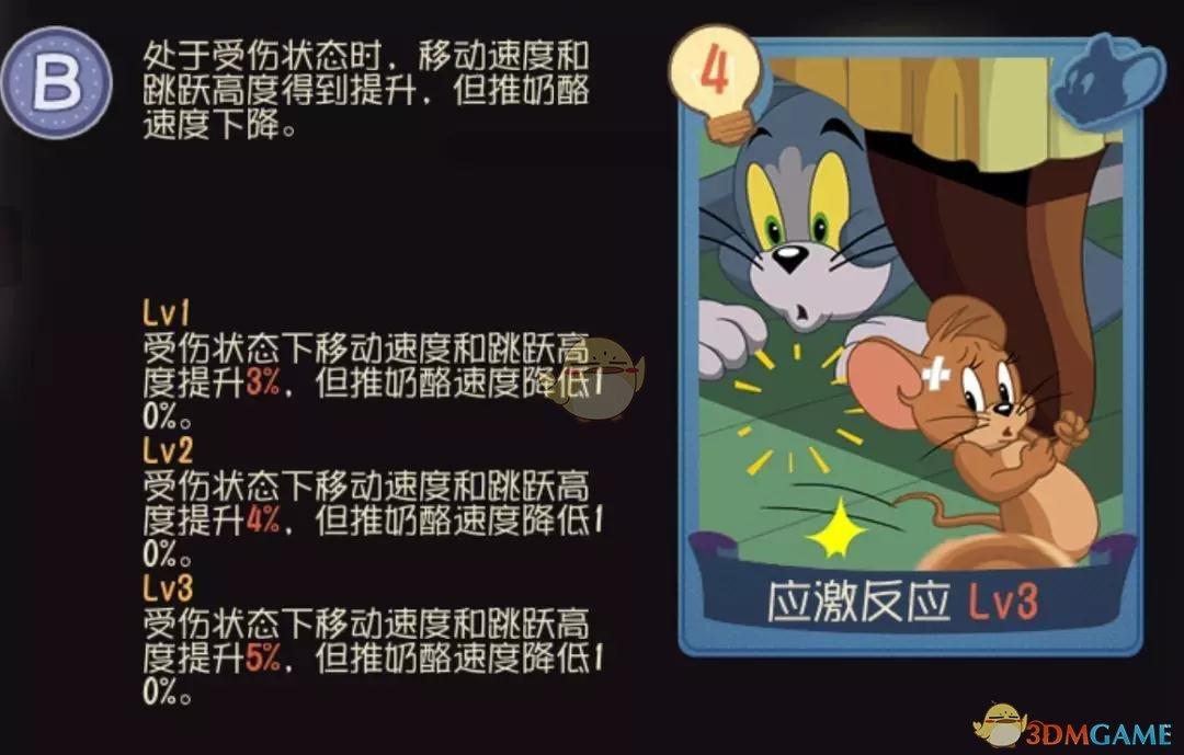 《猫和老鼠手游》应激反应知识卡介绍