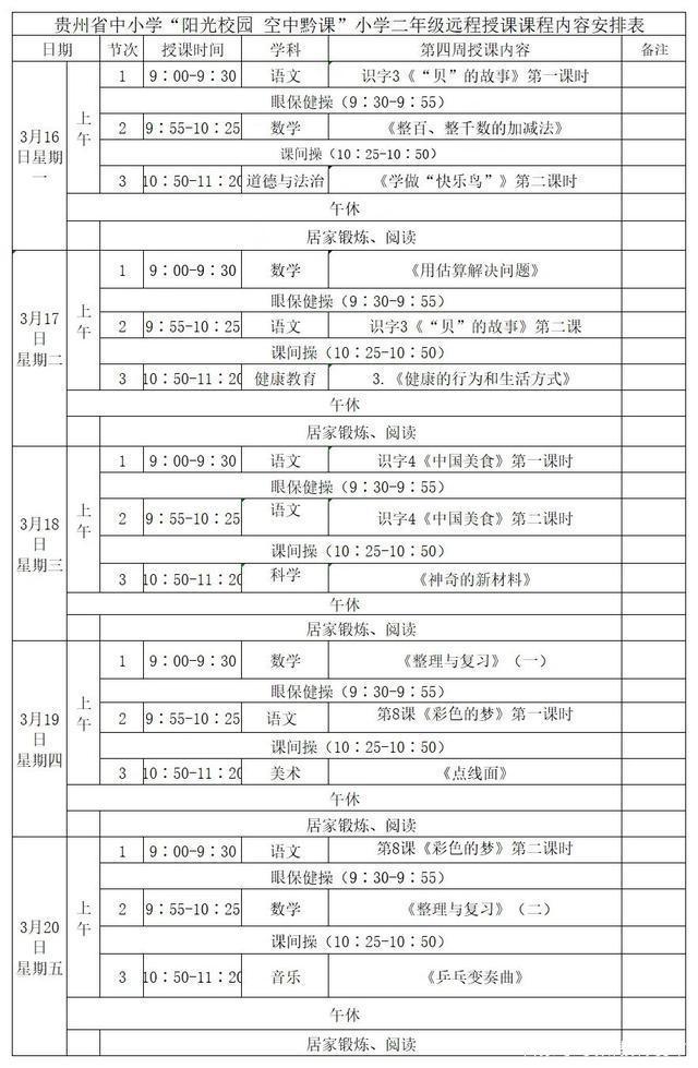 《阳光校园空中黔课》二年级3月16日-3月20日课程表