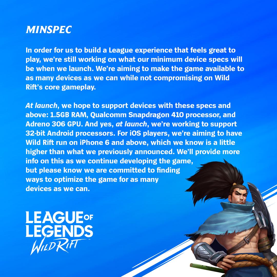 《英雄联盟手游》预期配置公开 下月进行小范围测试