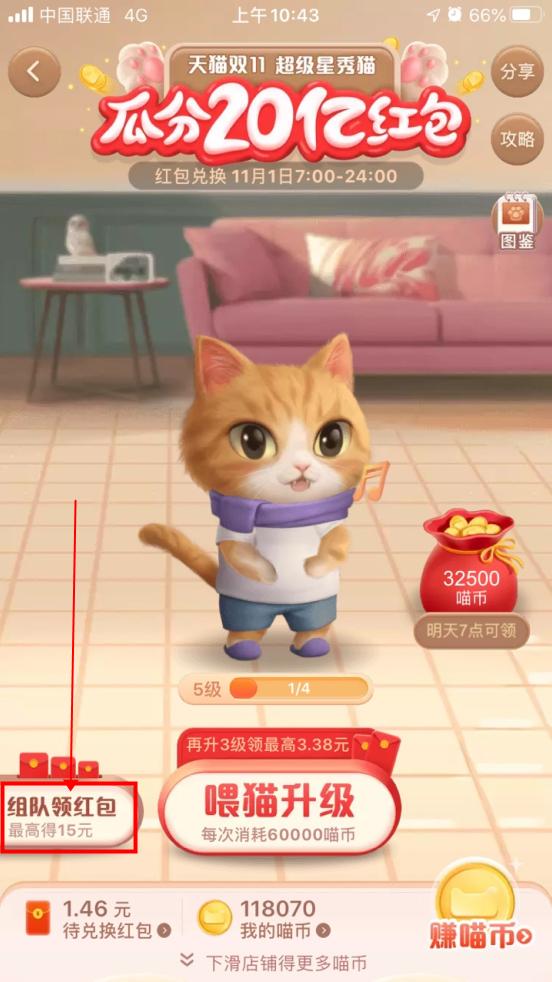《淘宝》双11超级星秀猫组队方法