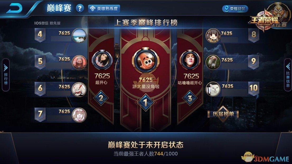《王者荣耀》S12巅峰赛更新优化说明