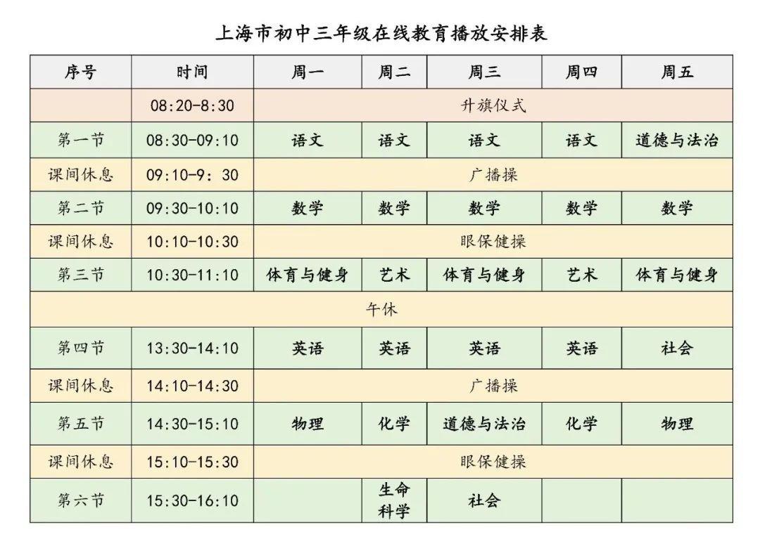 2020上海市中小学生空中课堂在线教育课程表(秋季)